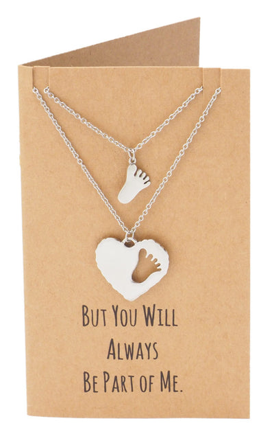 Geelin Mother Daughter Footprint and Heart Necklace