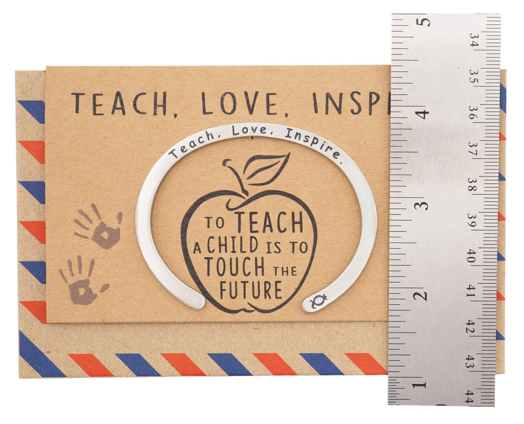 Madeleine Teacher Gifts Cuff Bracelets, Teach.Love.Inspire Engraving with Greeting Card - Quan Jewelry 12