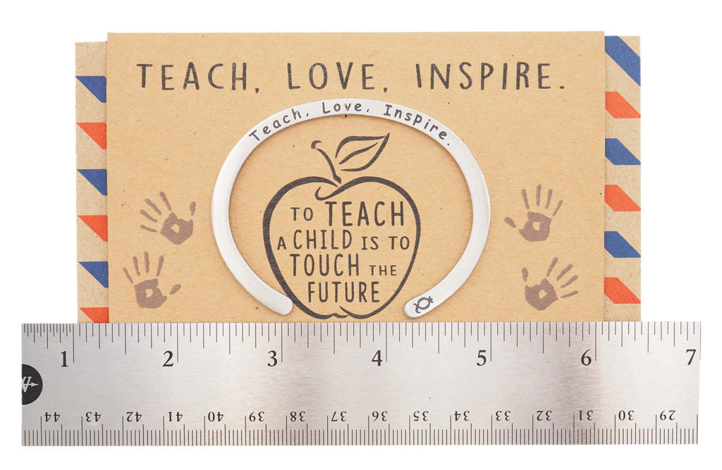 Madeleine Teacher Gifts Cuff Bracelets, Teach.Love.Inspire Engraving with Greeting Card - Quan Jewelry 13