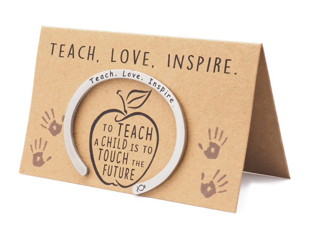 Madeleine Teacher Gifts Cuff Bracelets, Teach.Love.Inspire Engraving with Greeting Card - Quan Jewelry 6