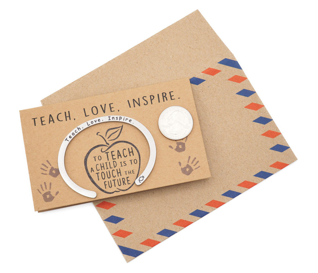 Madeleine Teacher Gifts Cuff Bracelets, Teach.Love.Inspire Engraving with Greeting Card - Quan Jewelry 3