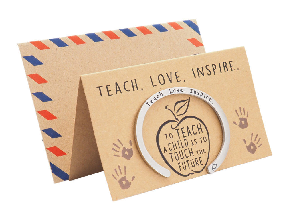 Madeleine Teacher Gifts Cuff Bracelets, Teach.Love.Inspire Engraving with Greeting Card - Quan Jewelry 7