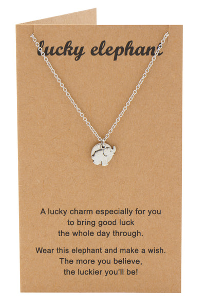 Misty Elephant Necklace with Good Luck Charm and Greeting Card, Silver - Quan Jewelry - 1
