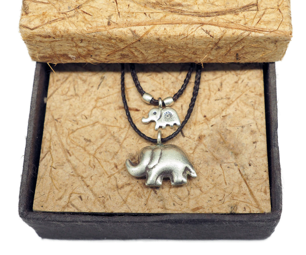 Sunee Elephant Necklace with 2 Elephant Pendants,  - Quan Jewelry - 2