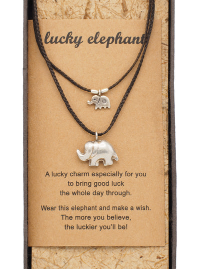 Sunee Elephant Necklace with 2 Elephant Pendants, Brown - Quan Jewelry - 1