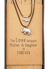 Mother Daughter Elephant Charm Necklace with Gift Box and Greeting Card - Quan Jewelry 3