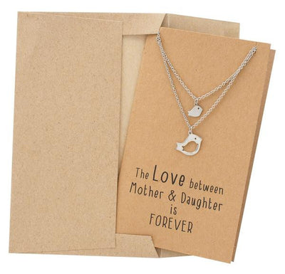 Arielle Mother Daughter Necklace with Bird Pendant