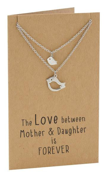 Arielle Mother Daughter Necklace with Bird Pendant, 2 Matching Necklaces - Quan Jewelry