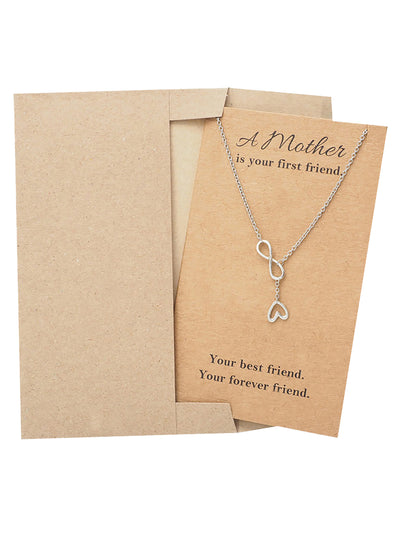 Lorna Infinity Heart Lariat Mothers Necklace