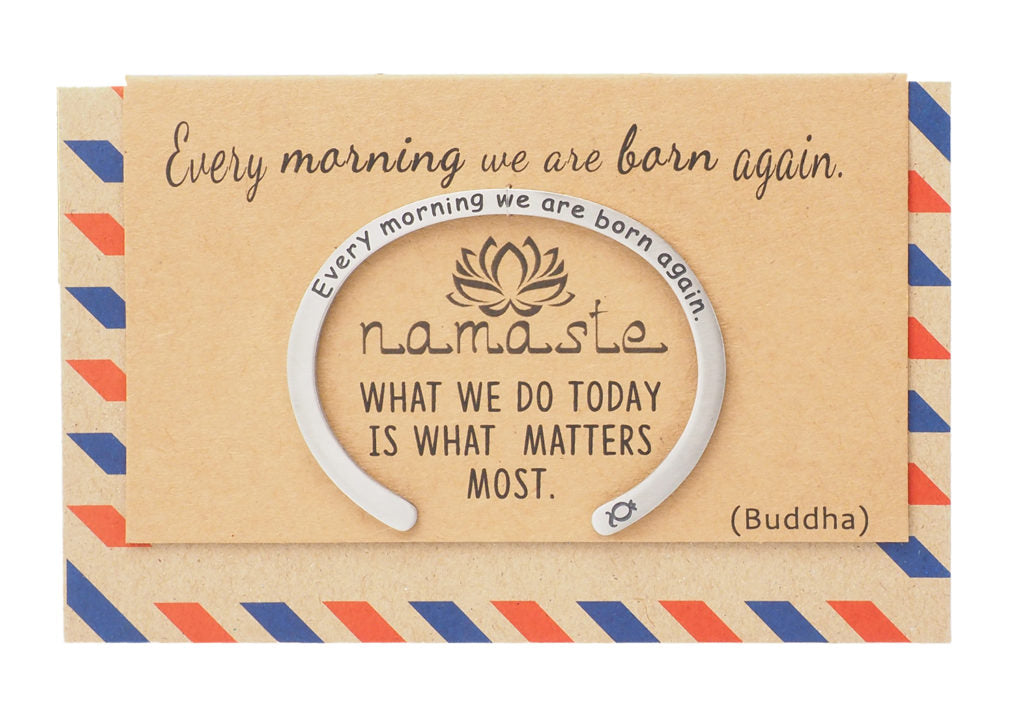Rene Namaste Cuff Engraved Bracelet with Inspirational Quote on Greeting Card