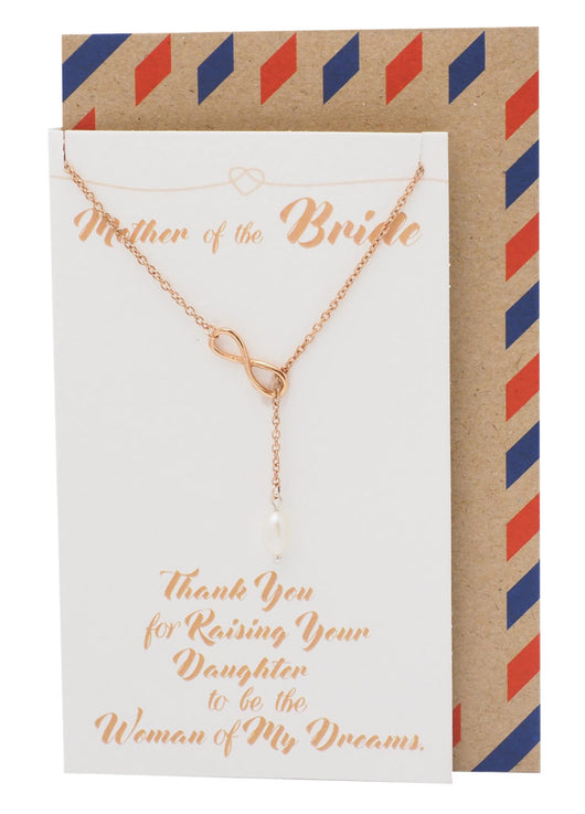 Haven Mother of the Bride Infinity Pearl Lariat Necklace, Wedding Jewelry, Thank You Card - Quan Jewelry