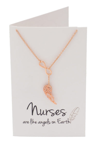 Infinity Lariat Angel Wing Necklace, Gifts for Nurses (Rose Gold) - Quan Jewelry 2