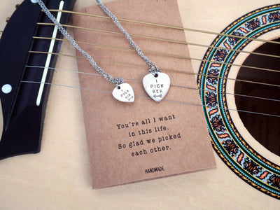 Marlowe Guitar Pick Matching Pendant Necklace