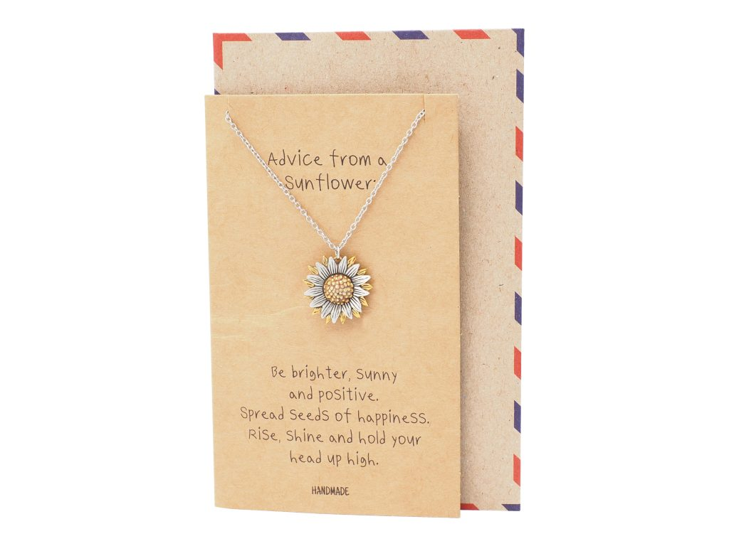Yamileth Sunflower Pendant Necklace Inspirational Jewelry and Greeting Card