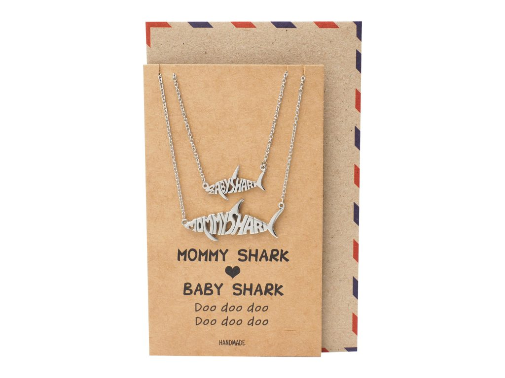 Genevieve Mommy and Baby Shark Pendant Necklaces Set of 2, Best Jewelry Gifts For Family