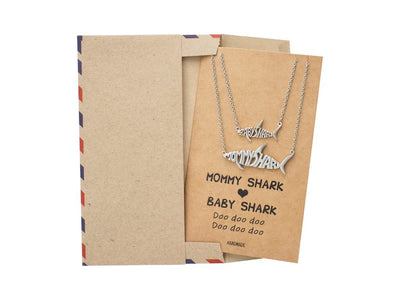 Genevieve Mommy and Baby Shark Pendant Necklaces Set of 2