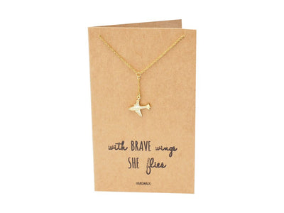 Corrine Brave Lariat Necklace with Airplane Pendant for Women