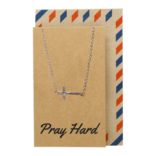 Aaliyah Sideways Cross Necklace - Quan Jewelry