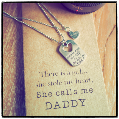 Mason Father Daughter Personalized Engraved Necklaces, Father's Day Card,  - Quan Jewelry - 3