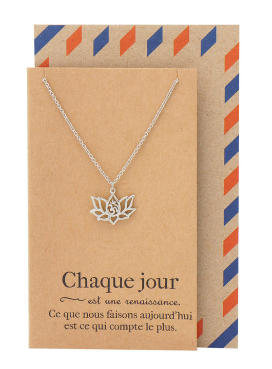 Edith Yoga Jewelry, Lotus Flower Om Necklace with French Yoga Quotes - Quan Jewelry