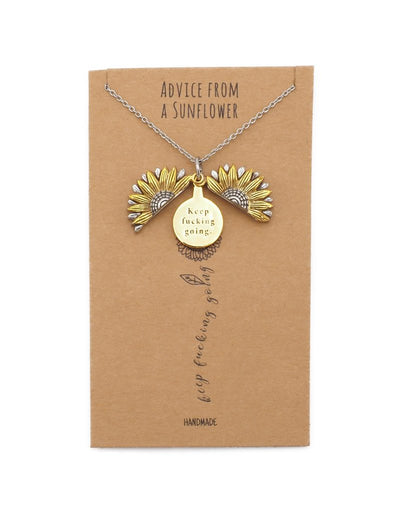 Aerin Keep Fucking Going Necklace, Sunflower Locket Pendant Engraved Gifts Jewelry Greeting Cards