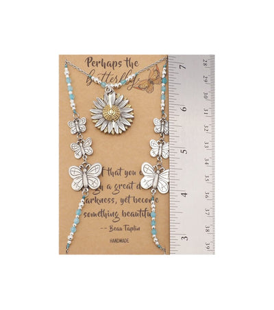 Lucinda Butterfly Face Mask Lanyard Necklace with Inspirational Greeting Card