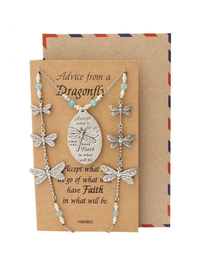 Mariah Dragonfly Face Mask Lanyard Necklace with Inspirational Greeting Card