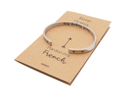 Aviana Keep Fucking Going Cuff Bracelet, Gifts for Women with Inspirational and Motivational Greeting Card
