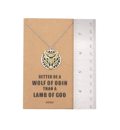 Aminah Wolf of Odin Pendant Necklace, Gifts for Men and Women, Inspirational Jewelry