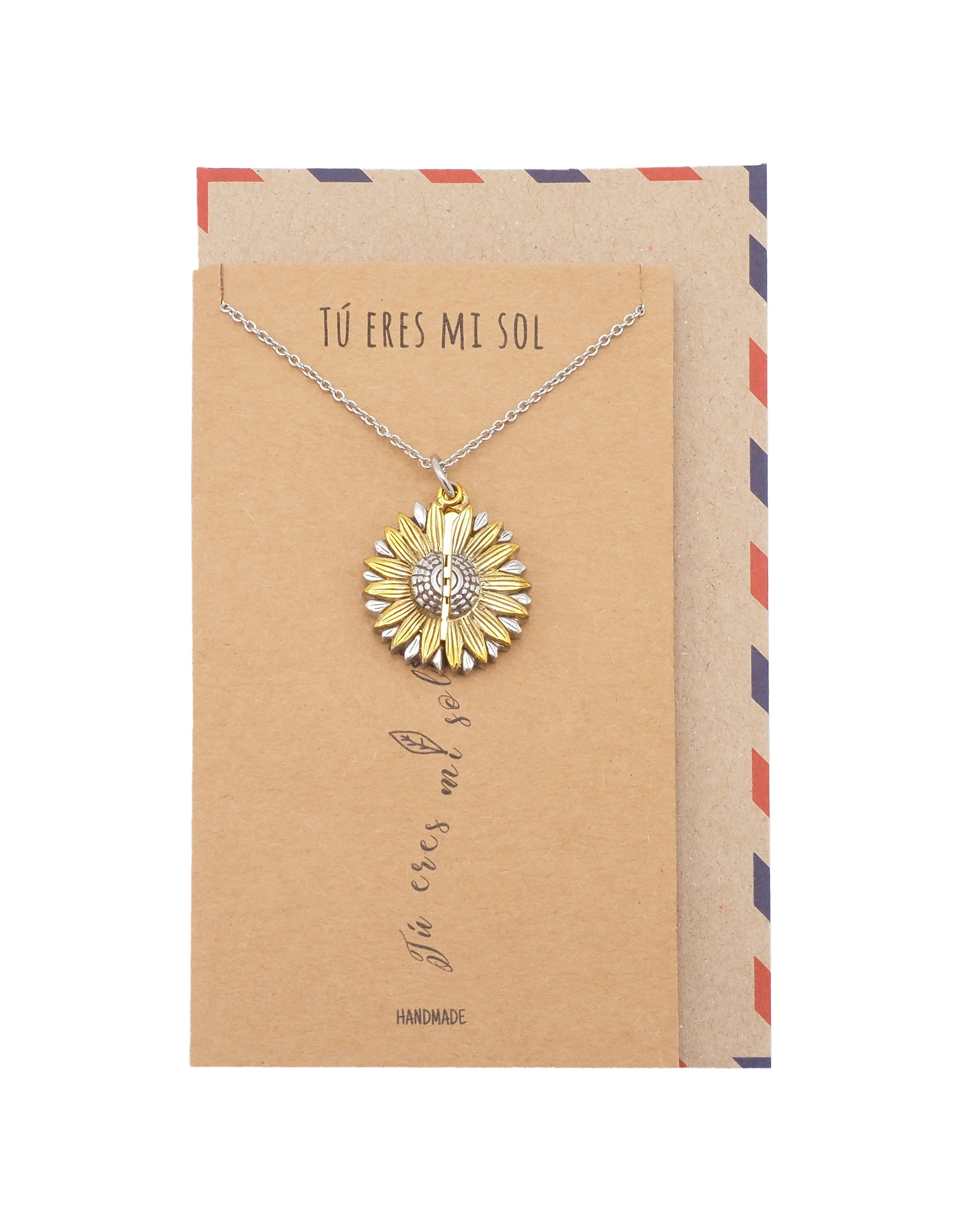 Adalee Tú Eres Mi Sol Necklace, Sunflower Locket Pendant, Spanish Engraved Gifts Jewelry Greeting Cards