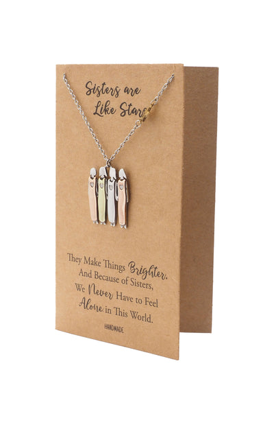 Gracyn Sisters and Star Pendant Necklace, Gifts for Best Friends with Greeting Card