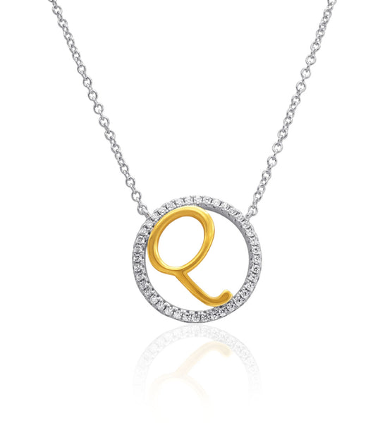 Brynn Initial Charm Necklace, 'Q' Crowned Pendant Necklace, Two-toned, 925 Sterling Silver