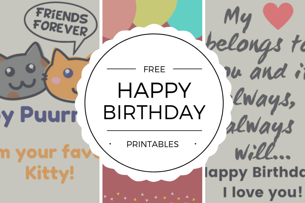picture regarding Free Printable Cat Birthday Cards named Totally free Content Birthday Playing cards Printables - Quan Jewellery