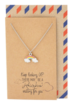 Rainbow Necklace with Inspirational Quote on Greeting Card - Quan Jewelry 1