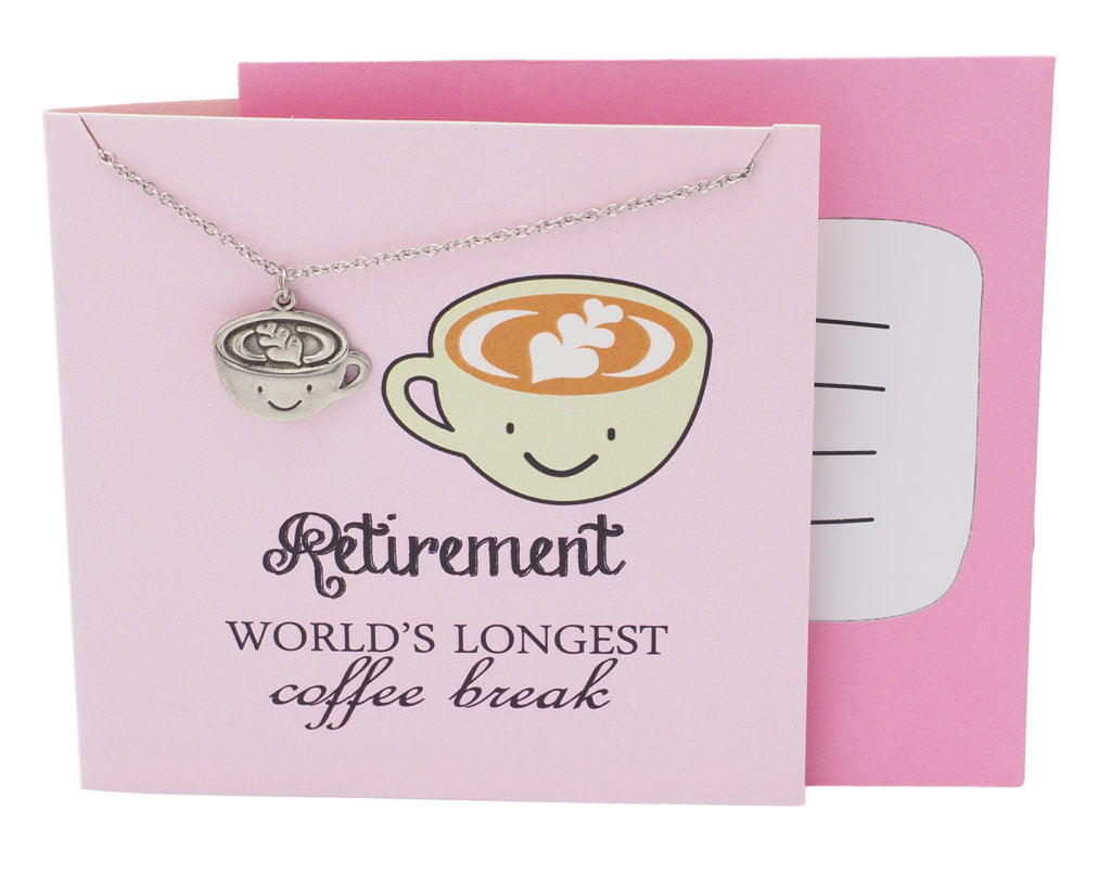 Arya Funny Puns Coffee Necklace Retirement Gifts for Women - Quan Jewelry