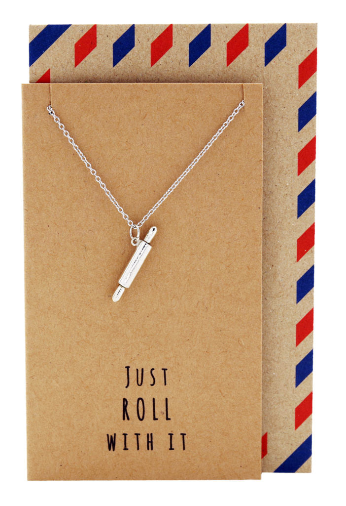 Jamie Chef Jewelry with Rolling Pin Pendant, Silver - Quan Jewelry - 1