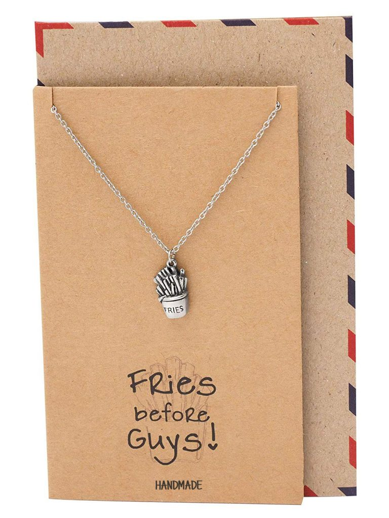 Shenelle Fries Jewelry Charm Necklace, Baker Gifts, Gifts for Best Friends with Funny Greeting Card