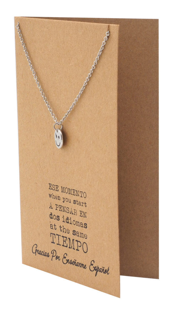tess spanish teacher gifts smile emoji necklace and thank