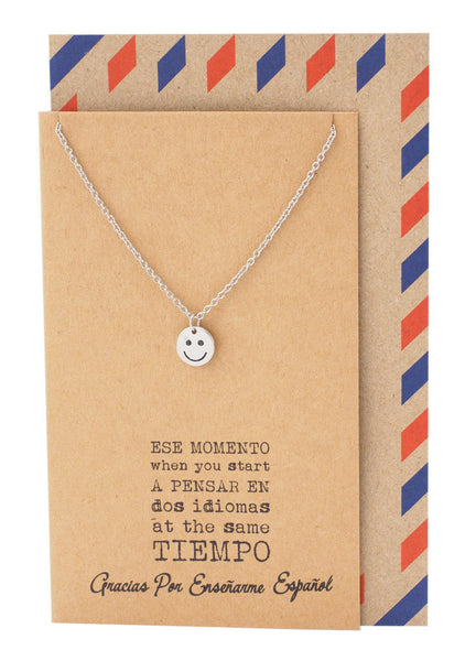 Spanish Teacher Gifts Smile Emoji Necklace and Thank You Cards - Quan Jewelry 4