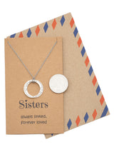 Roselyn Sisters Forever Necklace with Engraved Stackable Rings Pendant, Gifts for Sisters