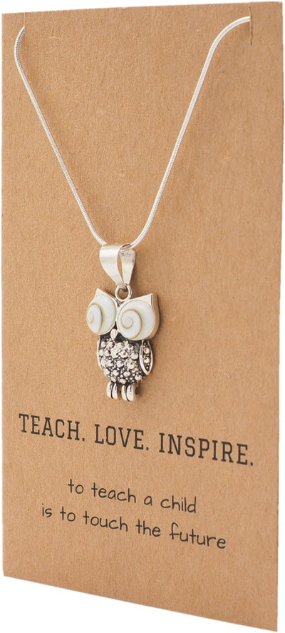 Jazel Teach. Love. Inspire Owl Pendant Necklace, Gifts for Teachers, comes with Inspirational Quote - Quan Jewelry