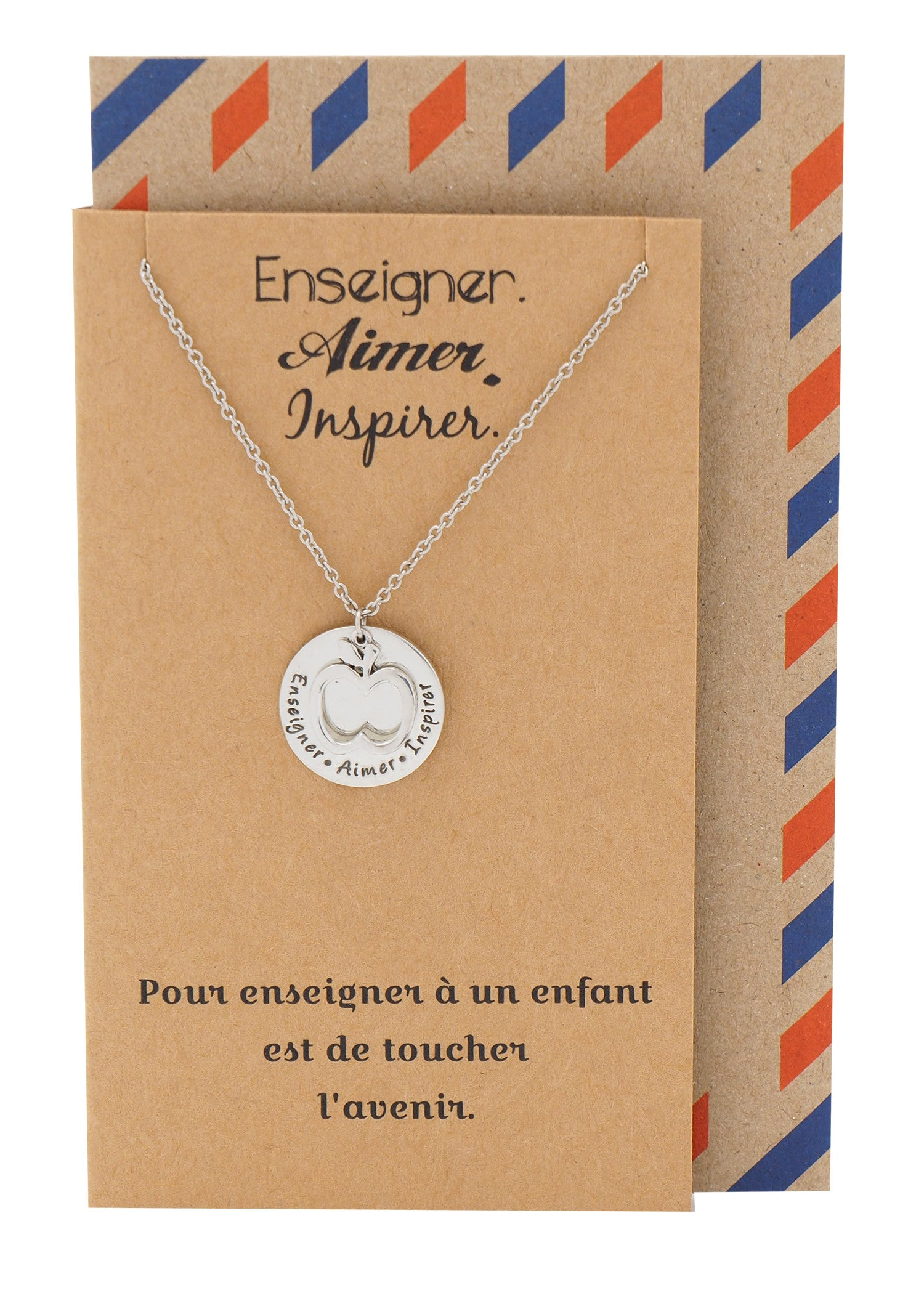 Alessandra Gifts for Teachers - Enseigner. Aimer. Inspirer. Necklace and Greeting Card - Quan Jewelry