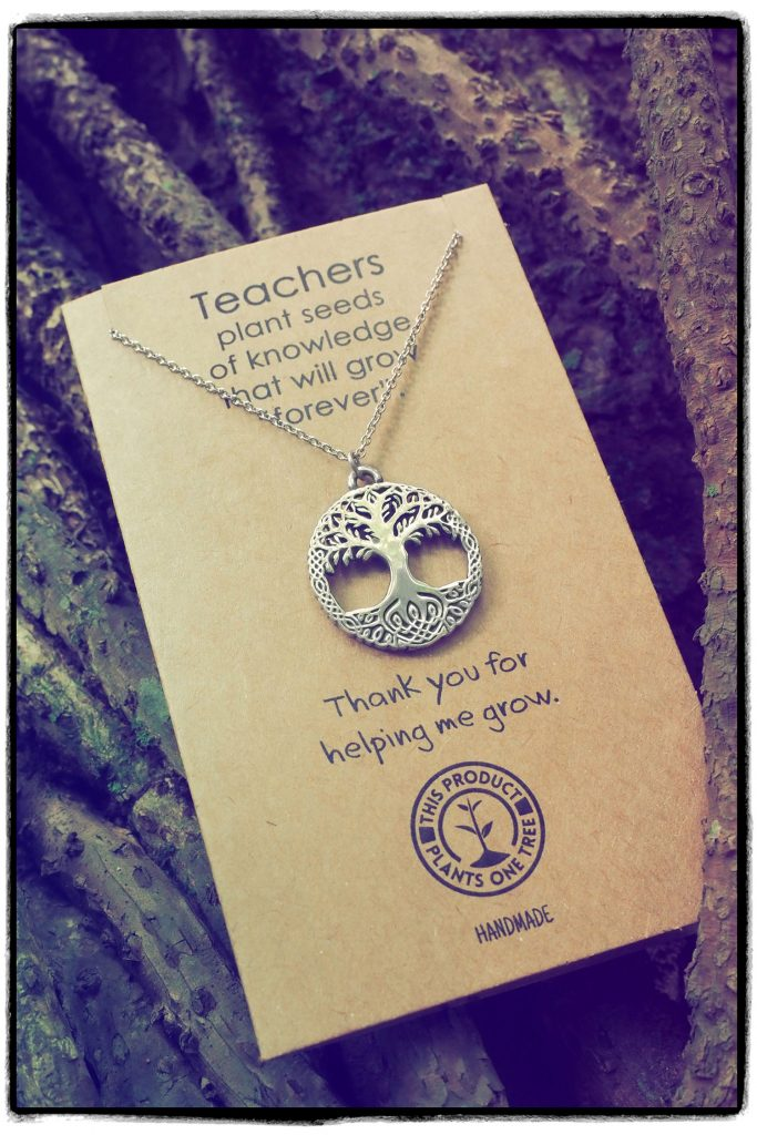 Teacher Gift Thank You For Helping Me Grow Tree of Life Necklace Message Card