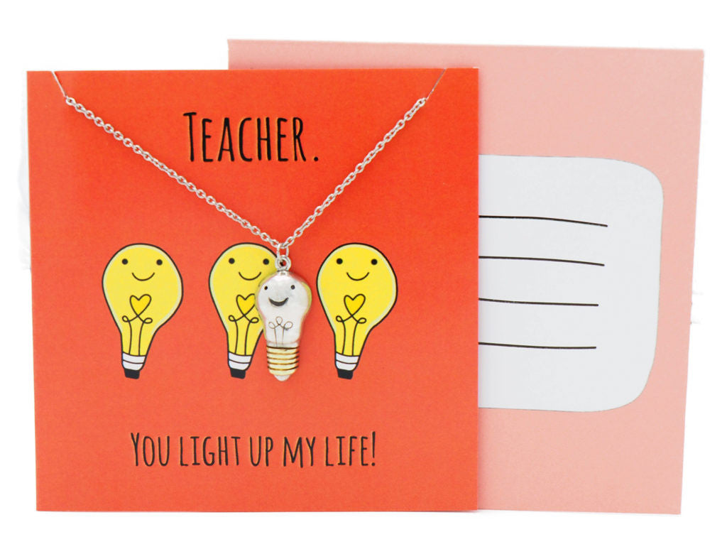 Gabby Gifts for Teachers, Funny Cards, Teacher. You light up my life! - Quan Jewelry
