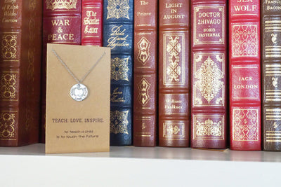 Elise Gifts for Teachers - Teach, Love, Inspire Necklace and Greeting Card - Quan Jewelry