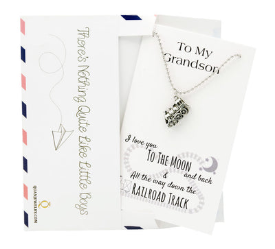 Cal Train Necklace Love You to the Moon and Back Grandson Gifts, Happy Birthday Cards - Quan Jewelry