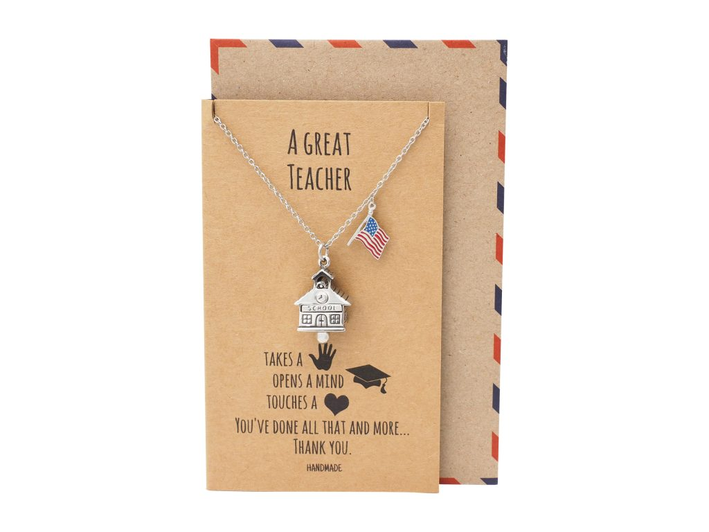 John Cotton School House Bell USA Necklace, School Pendant with US Flag Charm Teacher Gifts, with Greeting Card
