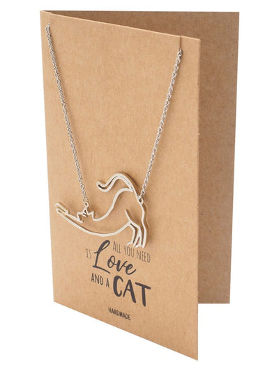 Lilith Cat Pendant Necklace, Gifts for Cat Lovers with Greeting Card