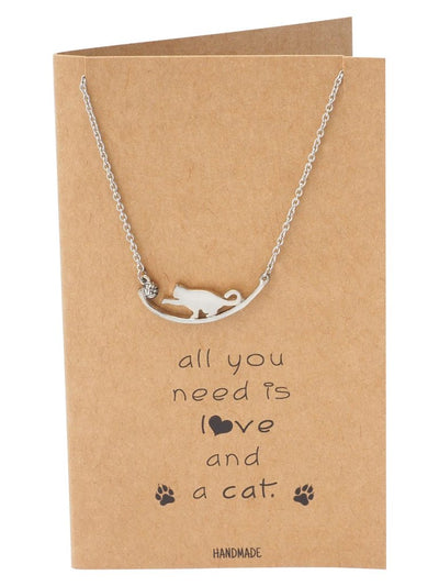 Iliana Cat Necklace Quotes Greeting Card, Gifts for Cat Lovers