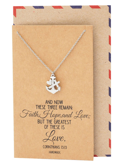 Sabel Faith Hope and Love Necklace with Heart Anchor Cross Pendant, Inspirational Jewelry